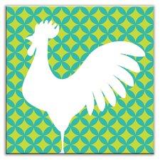 "Folksy Love 4-1/4"" x 4-1/4"" Satin Decorative Tile in Doodle-Do Green-Left"