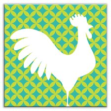 """Folksy Love 4-1/4"""" x 4-1/4"""" Glossy Decorative Tile in Doodle-Do Green Right"""