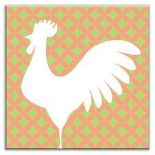 "Folksy Love 4-1/4"" x 4-1/4"" Satin Decorative Tile in Doodle-Do Pink Left"