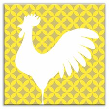 """Folksy Love 4-1/4"""" x 4-1/4"""" Glossy Decorative Tile in Doodle-Do Yellow Left"""
