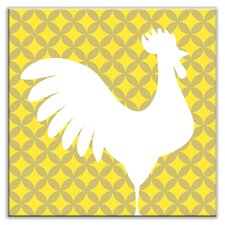 """Folksy Love 6"""" x 6"""" Satin Decorative Tile in Doodle-Do Yellow Right"""