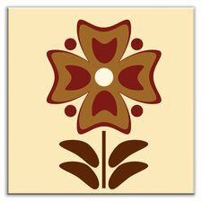 """Folksy Love 4-1/4"""" x 4-1/4"""" Glossy Decorative Tile in Gardenia Burgundy"""