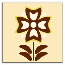 "Folksy Love 6"" x 6"" Satin Decorative Tile in Gardenia Cream"