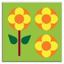 "Folksy Love 4-1/4"" x 4-1/4"" Glossy  Decorative Tile in Garden Pop Green"