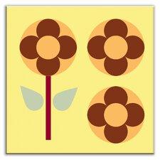"""Folksy Love 4-1/4"""" x 4-1/4"""" Satin Decorative Tile in Garden Pop Yellow"""