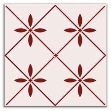 """Folksy Love 4-1/4"""" x 4-1/4"""" Glossy Decorative Tile in Glass Burgundy"""