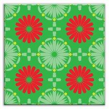 "Folksy Love 4-1/4"" x 4-1/4"" Glossy Decorative Tile in Kaleidoscope Green-Red"