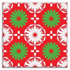 "Folksy Love 4-1/4"" x 4-1/4"" Satin Decorative Tile in Kaleidoscope White-Green-Red"