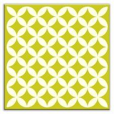 """Folksy Love 4-1/4"""" x 4-1/4"""" Satin Decorative Tile in Needle Point Avocado"""