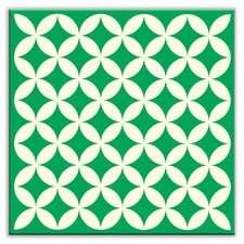 """Folksy Love 6"""" x 6"""" Glossy Decorative Tile in Needle Point Green"""