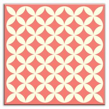 """Folksy Love 4-1/4"""" x 4-1/4"""" Glossy Decorative Tile in Needle Point Pink"""