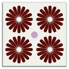 "Folksy Love 6"" x 6"" Glossy Decorative Tile in Pinwheels Burgundy"