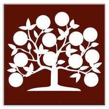 """Folksy Love 4-1/4"""" x 4-1/4"""" Satin Decorative Tile in Tree of Life Burgundy"""