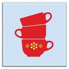 """Kitschy Kitchen 4-1/4"""" x 4-1/4"""" Satin Decorative Tile in Coffee Time Light Blue-Red"""