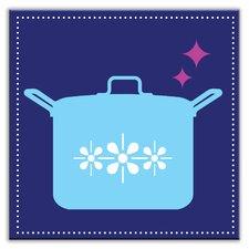 "Kitschy Kitchen 4-1/4"" x 4-1/4"" Satin  Decorative Tile in What's Cookin Navy"