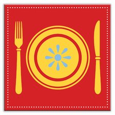 """Kitschy Kitchen 4-1/4"""" x 4-1/4"""" Satin Decorative Tile in Let's Eat Red"""