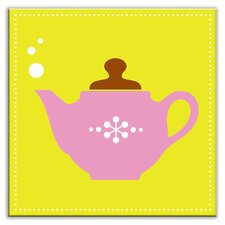 """Kitschy Kitchen 6"""" x 6"""" Glossy Decorative Tile in Spot of Tea Green-Pink"""