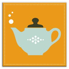 "Kitschy Kitchen 6"" x 6"" Glossy Decorative Tile in Spot of Tea Orange-Light Teal"
