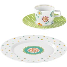 No Limits 18-Piece Porcelain Coffee Tableware Set in Flip Décor