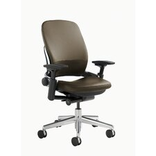 Leap® Leather Office Chair with Polished Aluminum Frame