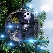 Nightmare Before Christmas Jack and Zero Hanging Glass Ornament