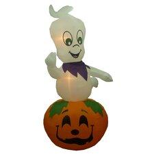 Animated Halloween Inflatable Ghost Casper on Pumpkin Indoor/Outdoor Decoration