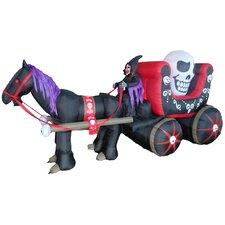 Halloween Inflatable Carriage with Huge Skull Indoor/Outdoor Decoration