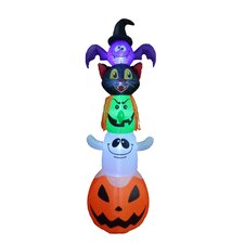 Halloween Inflatable Stacked Bat, Black Cat, Witch, Ghost, and Pumpkin