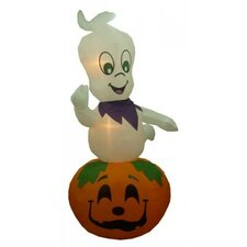 Halloween Inflatable Animated Ghost on Pumpkin Decoration