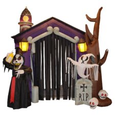 Halloween Inflatable Haunted House Castle with Skeletons