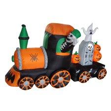 Halloween Inflatable Skeleton on Train Decoration