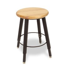 Adjustable Height Round Hardwood Seat 4 Leg Stool