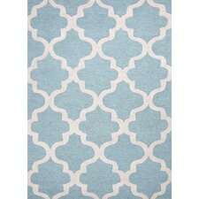 City Blue & Ivory Geometric Area Rug