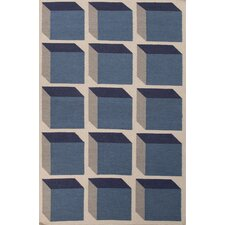 En Casa Blue Geometric Area Rug
