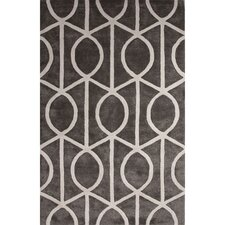 City Wool and Art Silk Hand Tufted Pewter/White Area Rug