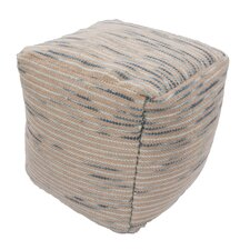 Alma Textural Wool and Cotton Pouf Ottoman