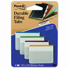 Durable Color Bar Index File Tabs, 2w x 1-3/4h, Five Colors, 24/pack (Set of 2)