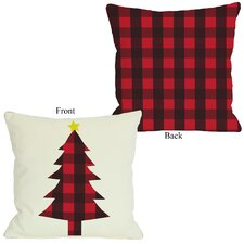 Plaid Christmas Tree Throw Pillow