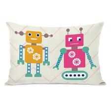 Robots and Chevrons Lumbar Pillow