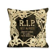 RIP Skeleton Border Throw Pillow
