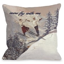 Come Fly with Me Vintage Ski Throw Pillow