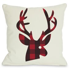 Holiday Plaid Reindeer Polyester Throw Pillow