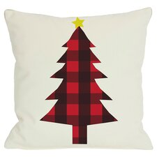 Holiday Plaid Christmas Tree Reversible Throw Pillow