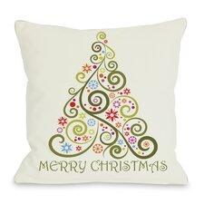 Holiday Merry Christmas Whimsical Tree Throw Pillow