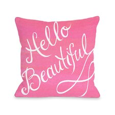 Hello Beautiful Bow Throw Pillow