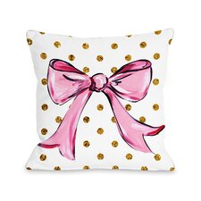 Pink Bow Dots Bows Throw Pillow