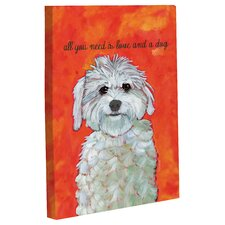 Doggy Decor Love and A Dog Painting Print on Canvas