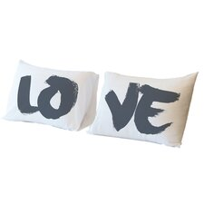 Love Paintbrush 2 Piece Pillowcase Set