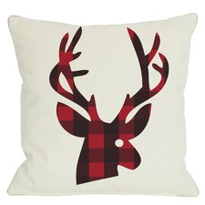 Holiday Plaid Reindeer Throw Pillow
