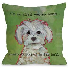 Doggy Decor Somebody Pooped Throw Pillow